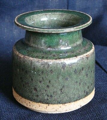 Arne Bang & Jacob Bang green vase, double signed, Danish studio ceramic