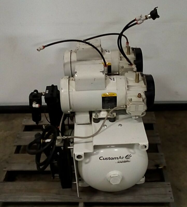 RAMVAC 1027D20 Customair Air Compressor 230v 1PH w/ 2x BALDOR M97120