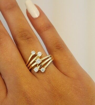 Round Diamond Fancy Ring (14K Solid Yellow Gold 0.50 Ct Fancy Fashion Cocktail Ring Round Cut)