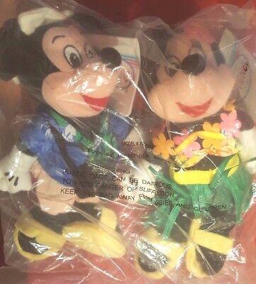 Disney Pair Tourist Mickey & Hula Minnie Mouse Mini Bean Bag w/ Lei Grass Skirt