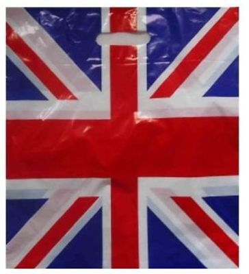 Union Jack Plastic Patch Handle Carrier Bags Gift Pack Free P & P x 5