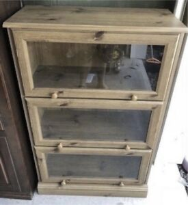 Cabinet with Flip-Up Glass Doors