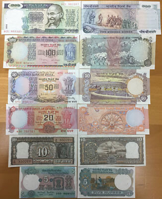 India Banknote Set 5 10 20 50 100 500 Rupees 1970S  Usual Staple Holes  Unc