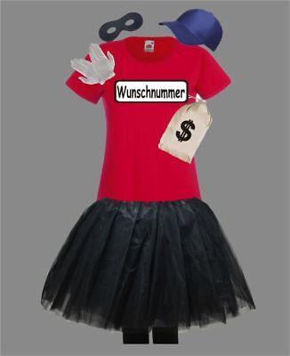 Damen Kostüm für Panzerknacker Fans T-Shirt Tutu Tütü Wunschnummer Trend 2019