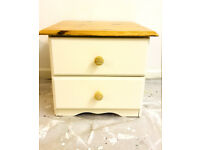 Solid Pine Annie Sloan Cream Shabby Chic Drawers - Bedside Tables.
