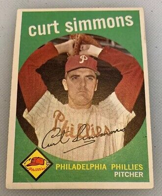 1959 Topps # 382 Curt Simmons Baseball Card Philadelphia Phillies