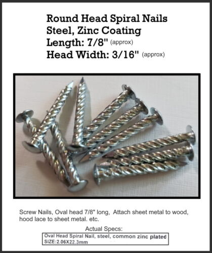 """Spiral screw nails, oval head 7/8"""" long, used to attach sheet metal to wood, etc"""