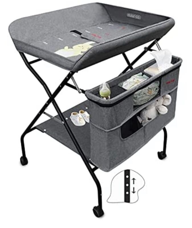 Holy Cat Baby Portable Changing Table with Wheels Adjustable Height
