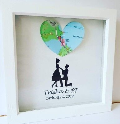 Personalised Frame Love Heart Map Print Memories Gift picture wedding engaged