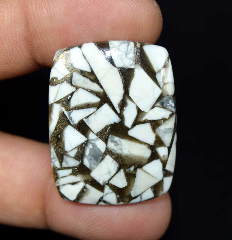 31.05 Cts. Reconstructed Copper White Howlite Cushion Cabochon Loose Gemstone