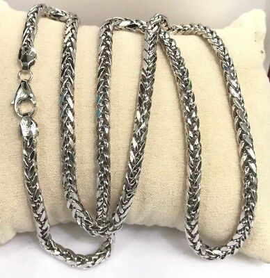 18k Solid White Gold Man Big Wheat Chain/ Necklace Dimond Cut. 22