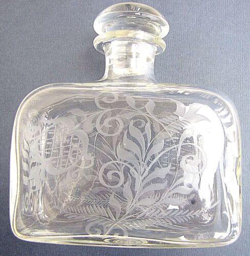 RUSSIAN ANTIQUE SHTOF VODKA BOTTLE 1 LITER FLORAL CUT ART GLASS 18th CEN. RARE!