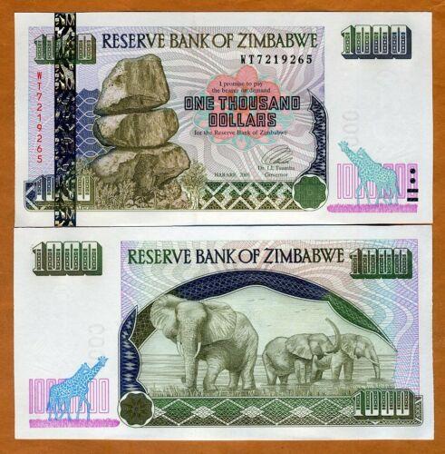 Zimbabwe, 1000 dollars, 2003, P-12b, UNC > Elephants