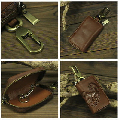 Brown Genuine Leather Car Key Case Organizer Keychain Covers Zipper for Car Home