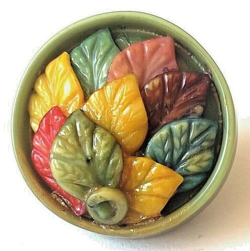 Antique Vintage Multi-Component Celluloid  Button…Colorful Fall Leaves