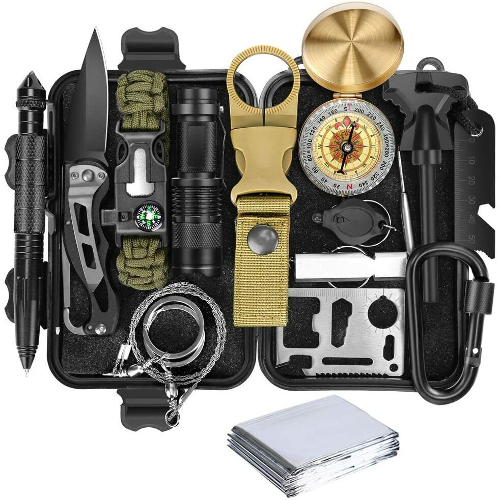 Emergency Kit 16in1 Gift, Survival Gear Tactical Tool For Ca