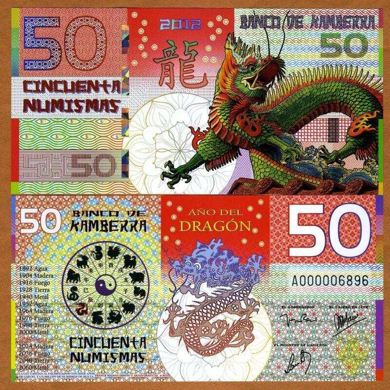 Kamberra, POLYMER, 50 Numismas, China Lunar Year, 2012, UNC > Dragon