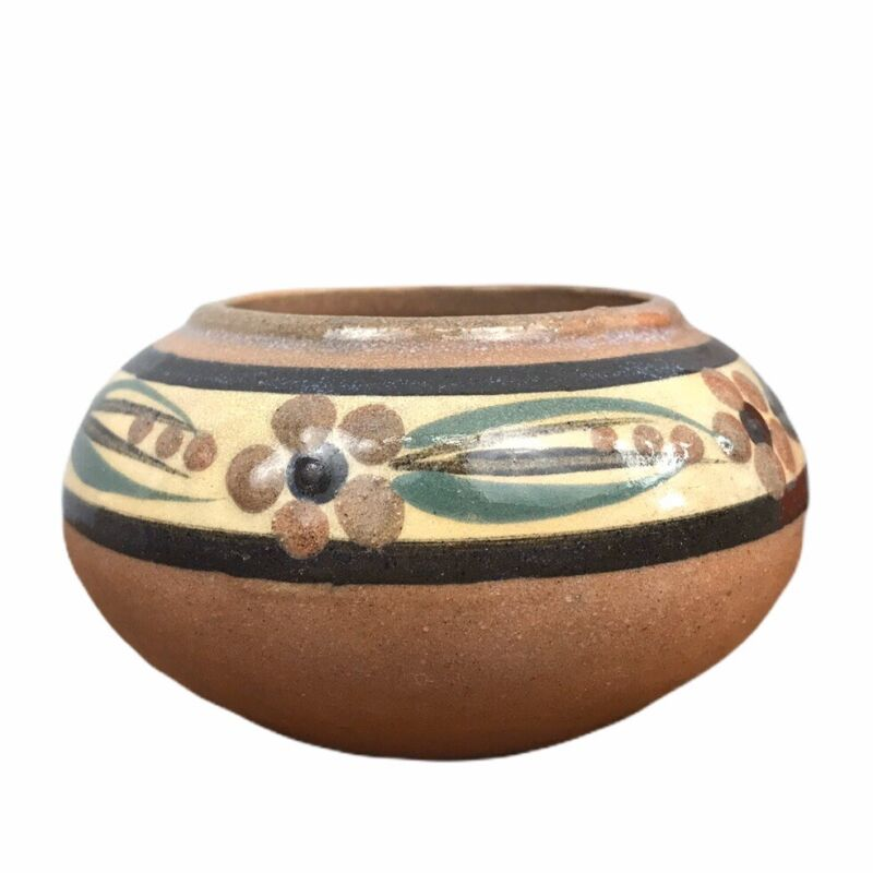 Vtg Minature Red Clay Barbados Pottery Mini Vase Handpainted Ceramic Stoneware