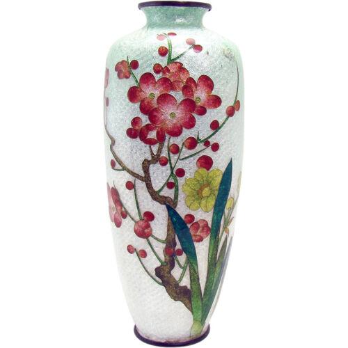 Japanese Ginbari Cloisonne Floral Vase - Early 1900