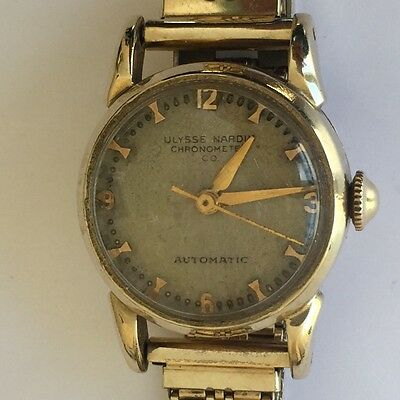 Vintage Ulysse Nardin automatic chronometer  14K yellow gold watch 22 mm GF band