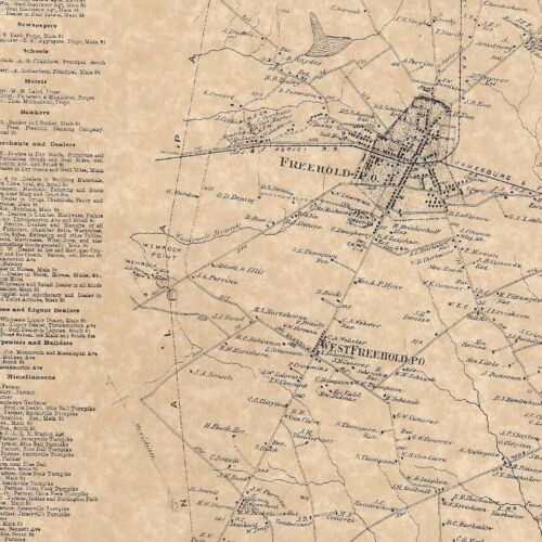 Freehold West Freehold East Freehold NJ 1873 Maps with Homeowners Names Shown