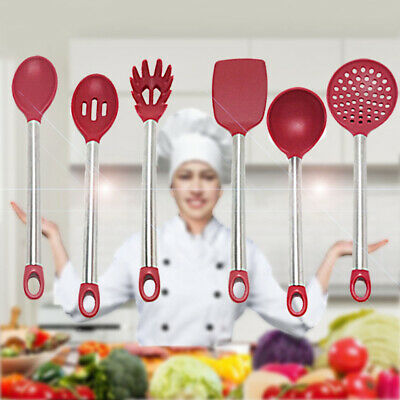 Chefraun 1-2pcs Kitchen Cooking Silicone Utensil Tool Set Spoon Turner Ladle etc Silicone Cooking Spoon