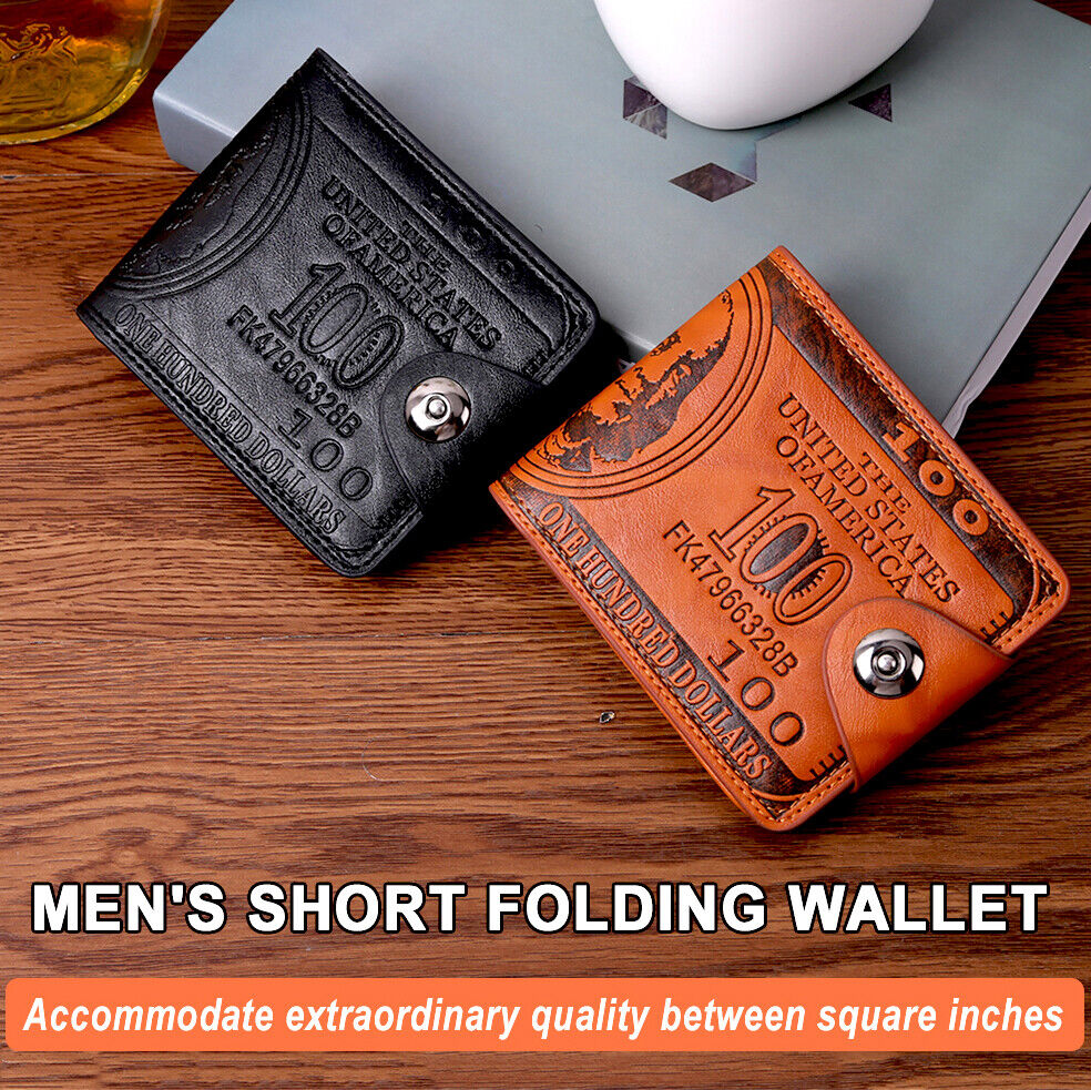Men's PU Leather $100 Wallet Vintage Print Bifold Portable Purse With Zipper USA Clothing, Shoes & Accessories