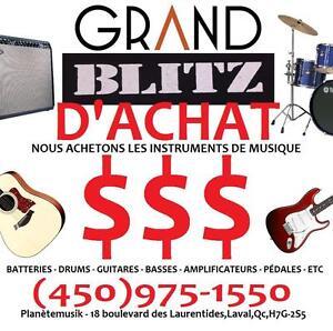 GRAND BLITZ D'ACHAT - NOUS ACHETONS GUITARES - BASSES - AMPLIS - EFFETS ETC en ordre ou pas!