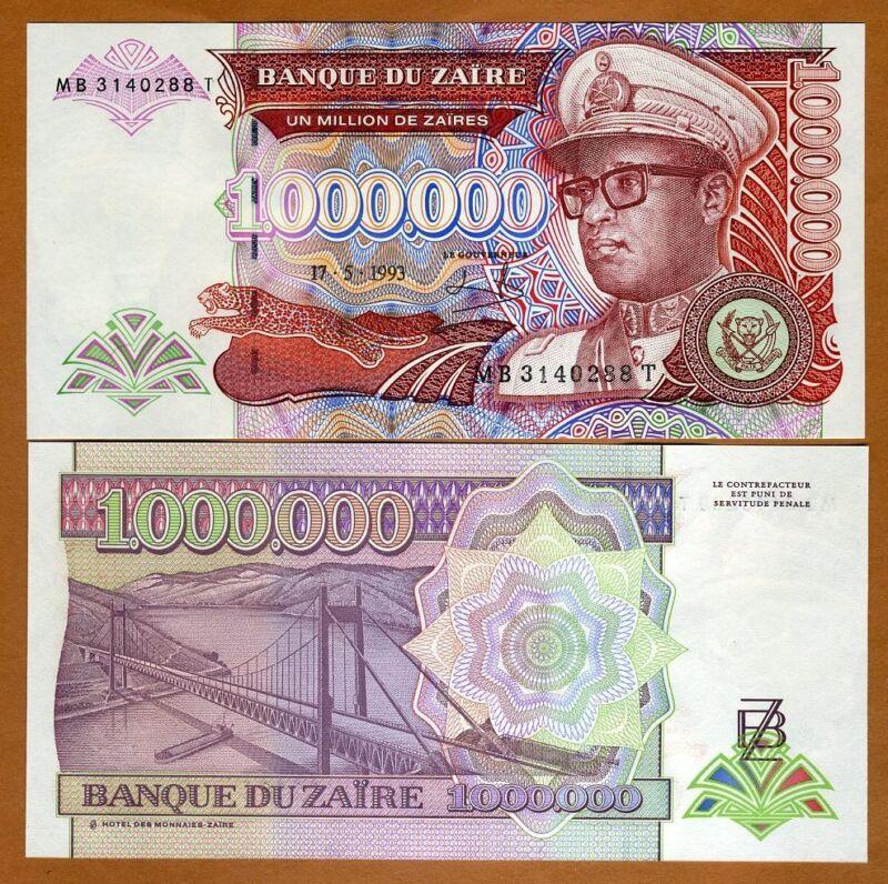 Zaire, 1,000,000 (1000000) Nouveaux Zaires, 1993, P-45b, UNC > Hyperinflation