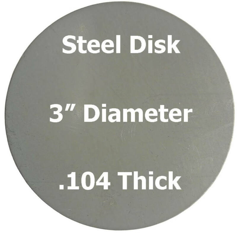 ".104 (12 ga.) Steel Plate, Disc Shaped, 3"" Diameter Circle"