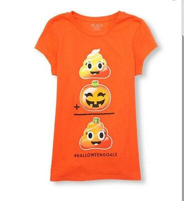 Girls Short Sleeve Glitter Halloween Goals Emoji Equation Graphic TeeSize 5/6](Glitter Graphics Halloween)