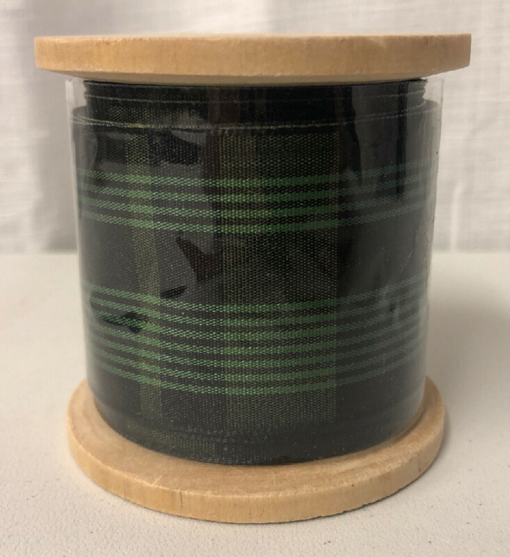 Hearth & Hand Magnolia Green Plaid Grosgrain Ribbon 10 Yards NEW!!