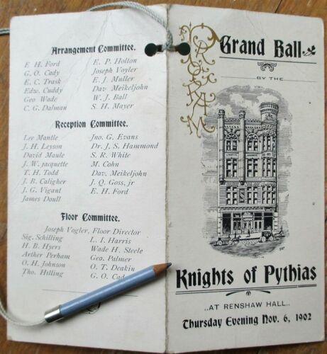 Butte, MT 1902 Knights of Pythias Dance Card - Grand Ball - Montana Mont