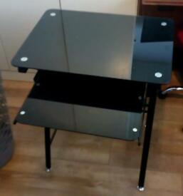 BLACK METAL DESK with BLACK GLASS TOP