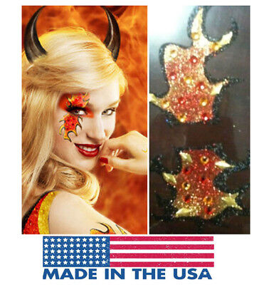Blaze Devil Mask Glitter Reusable Makeup Sticker Fire Flames Halloween Costume