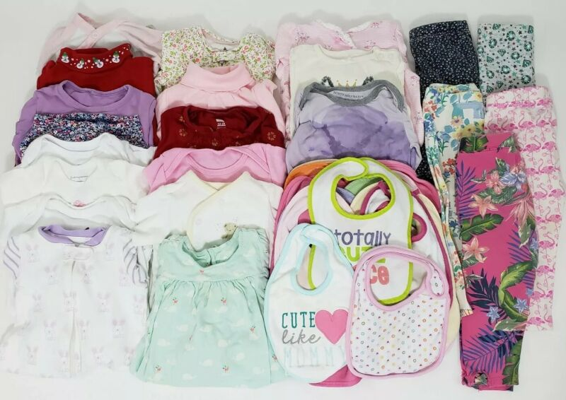Baby Girls Clothes Lot 0-3 To 2t Gap Bibs Sleepers One Pieces Leggings Holiday