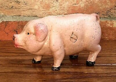 Cast Iron Pink Pig Vintage Penny Coin Bank