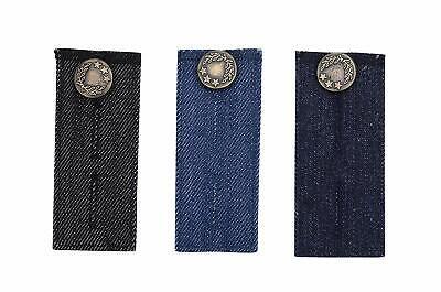 3 PCS Denim Waist Extender with Metal Button, Jeans Button Extender