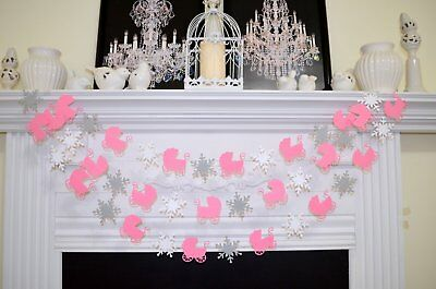 Winter Baby Shower Decorations (BABY SHOWER garland, BABY carriage, snowflakes, winter baby)