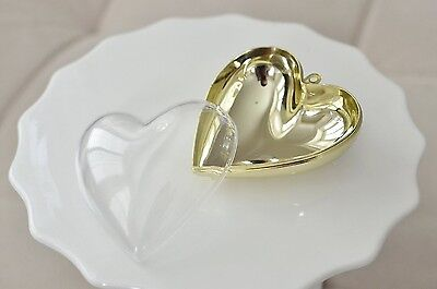 Plastic Heart Shaped Container - Clear w/ Gold Chrome Favor Box Gift Jewelry - Heart Shaped Favor Boxes
