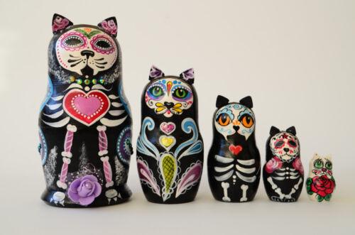 Sugar Skull Cats Russian Matryoshka Babushka, Wooden nesting dolls, handmade