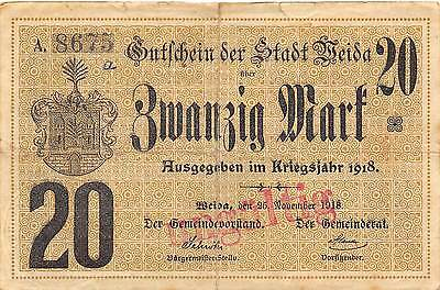 Germany   Weida 20Mark  25 11 1918  Circulated Banknote 2D2