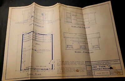 Vintage 1940s Blueprint Shed Type A Poultry House Insulite