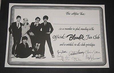 Blondie Vintage 1979 NEW Official Fan Club Membership Certificate Debbie Harry
