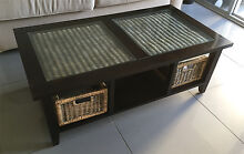 Wood and Rattan coffee table with rattan baskets Woolloomooloo Inner Sydney Preview