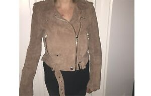 Gorgeous tan suede leather motorcycle jacket, never been worn!