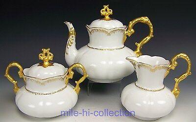 LOVELY BAVARIA GOLD PAINTED TEA POT CREAMER SUGAR SET ORNATE MOLDING SIGNED