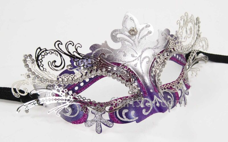 LASER CUT metal VENETIAN MASK masquerade Costume Purple SILVER rhinestone NEW