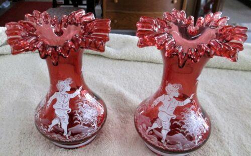 Pr Egermann Czech Republic Cranberry Hand Painted Mary Gregory Vases