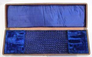 Antique Empty Cutlery Box For Carving Set - Blue Velvet Interior- Vintage